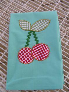 Tea Towel Aqua with Cherries  379 by diannek on Etsy, $12.00