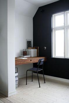 Ask & Eng - Custom made kitchen and furniture with bamboo Studio Interior, Interior Design, Scandinavian Desk, Workspace Desk, Desks, Black Walls, Tiny Living, Living Room, Black Decor