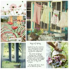 Oh the scent of Spring's morning dew, freshly laundered clothes hanging out-doors..! On days like these there are no worries of mine. #moodboard #mosaic #collage #inspirationboard #byJeetje♡