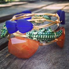 Gold Wire Wrapped University of Florida Gator Inspired Game Day Stackable Bangle Set on Etsy, $40.00 @MrsMayo1229 I LOVE this with the little gator. It is so adorable!