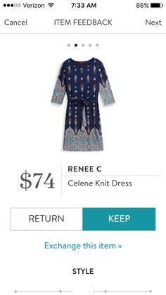Love the pattern, tie waist and sleeve length.  Need more cute knit dresses for fall and winter.