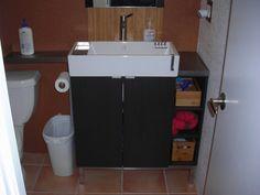 "Corner vanity. Materials: Lillangen cabinet and sink, Marginal shelfDescription: I had enough room for the 31"" Lillangen vanity, but wanted more shelf/counter space instead of"