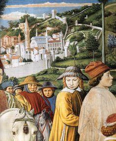 BENOZZO GOZZOLI (1421 - 1497) - St. Augustine - St. Augustine Departing for Milan (detail). 1464-65. Fresco. 220 x 230 cm. Apsidal Chapel of Sant' Agostino, San Gimignano, Italy.