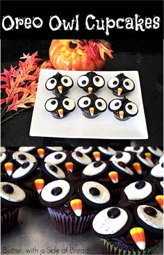 Oreo Owl Cupcakes take regular cupcakes up a notch by making them festive and adorable for the Halloween season - they are a hit at every party! Halloween Cupcakes, Halloween Treats, Halloween Fun, Halloween Season, Halloween Foods, Halloween Recipe, Holidays Halloween, Holiday Treats, Holiday Fun