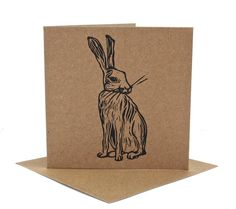 Hare Linocut Card.  Blank Greetings Card.  by TheLinoPrintShop, £2.50