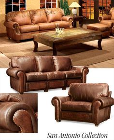 Leather Ranch Curved Sofa 553003 Western Sofas and Loveseats For
