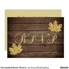 Personalized Rustic Wood Country Fall RSVP Wedding Card Elegant and modern gold topography and wood panels RSVP wedding response cards. Gold metallic leafs. Rustic and country theme. Editable templates - add your text. Contact designer for other variations. Found in 'FALL IN LOVE - COUNTRY' Wedding Collection.