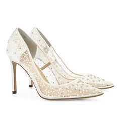 Elsa pump in ivory would go great with our sparkly Faven gown! Visit the post for the complete Elsa inspired bridal look. Sparkly Wedding Shoes, Bridal Wedding Shoes, Bridal Sandals, Wedding Shoes Heels, Bride Shoes, Ivory Wedding, Champagne Wedding Shoes, Wedding Pumps, Green Wedding