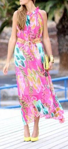Pink Feather Chiffon Maxi Dress ♥