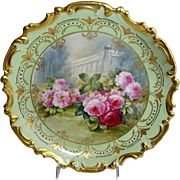 """French Limoges 13"""" China Plaque Hand Painted Roses Signed"""