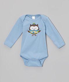 Blue Winter Owl Bodysuit - Infant
