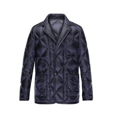 Men Moncler Dark Blue Herminier Classic Nylon Blazer Jacket