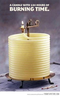 Coolest candle EVER. i will need this in my house so if i accidentally leave it on overnight or such, i wont burn down the house