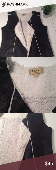 Beulah Faux Sherling Vest Beulah Faux Sherling Vest. Size L. Composition is 95% polyester and 5% resin. Very stylish vest and would look great with black leggings and heels! Beulah Jackets & Coats Vests