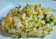 Składniki: różyczki brokuł torebka ryżu szklanka kukurydzy konserwowej 2 jajka zielony ogórek szynka (opcjo... Diet Recipes, Vegan Recipes, Appetisers, Superfood, Potato Salad, Food And Drink, Healthy Eating, Lunch, Dishes