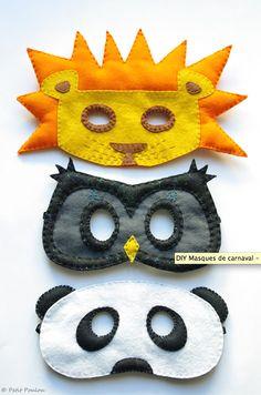 DIY masks: lion, owl, panda