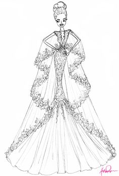 Wedding dress sketch for Angelina Jolie | Hayley Paige | brides.com