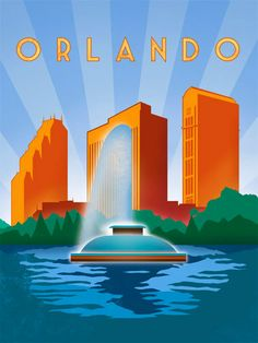 Orlando Vintage Poster #orlando #printing #florida