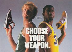 Larry Bird and Magic Johnson with the Converse Y bar shoes.