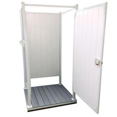 ToddPod 46 in. x 46 in. x 87 in. 3-Sided Single Outdoor Shower Enclosure with White Walls and Grey Decking Kit-TPSTP1-WWGD - The Home Depot