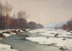 Constantin Isachie Popescu – Peisaj de iarnă Master Art, Painters, Floral, Flowers, Flower