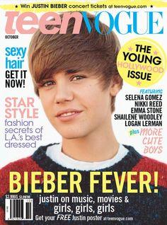 """Justin Bieber na capa da """"Teen Vogue"""" de outubro de 2010"""