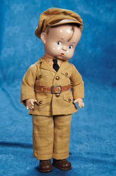 """Lot: 14"""" (36 cm.) American Composition """"Skippy"""" by Effanbee in Original Army Costume"""