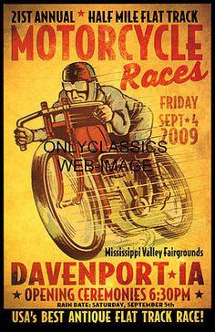 VINTAGE FLAT TRACK RACE MOTORCYCLE RACING POSTER INDIAN-MERKEL RACER ART GRAPHIC