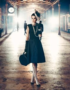 Hat dress, pearls and BOOTS!