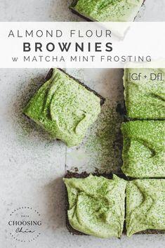 Almond Flour Brownies w Matcha Mint Frosting, gluten free and vegan! | choosingchia.com