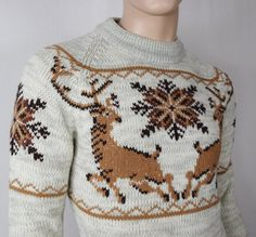 Vintage 1970's SILTON Men's DEER SNoWFLaKe Nordic Space Dyed HiPPiE HiPsTeR Sweater Size M