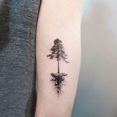 Tree tattoo meaning, tree roots tattoo, pine tree tattoo, pine tree m Tattoo Side, Wrist Tree Tattoo, Tree Tattoo Meaning, Tree Roots Tattoo, Tattoos With Meaning, Sternum Tattoo, Tattoo Wolf, Pine Tattoo, Bright Tattoos
