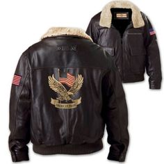 Men's leather bomber jacket features bold patriotic designs, a detachable faux shearling collar, black woven lining, multiple pockets, knit hem, more.