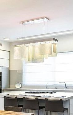 White Modern Kitchen and Living Room Lighting Custom Glass Entryway Chandelier, Entryway Lighting, Living Room Lighting, Interior Lighting, Kitchen Lighting, Chandelier Lighting, Custom Lighting, Modern Lighting, Lighting Design