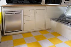 Custom build quality VW camper van interiors - retro coloured lacquered finished with real wood worktops, full fit out and furniture supplied