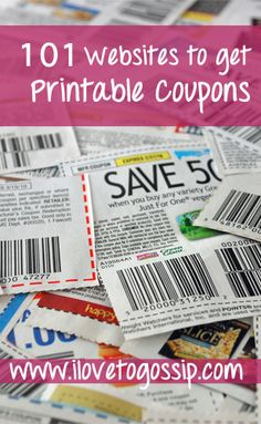 101 Websites to get printable coupons! Pin now print later :)