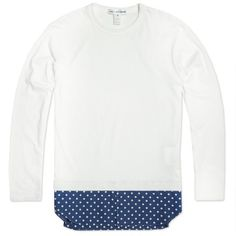 Comme des Garcons SHIRT Long Sleeve Dot Insert Tee (White)