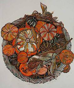 by Myrtle Pizzey Linocut Prints, Art Prints, Art Thou, Fall Wallpaper, Plant Illustration, Typography Prints, Woodblock Print, Art Techniques, Painting Inspiration