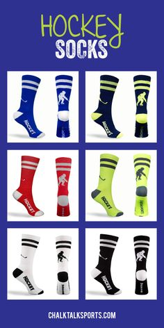 Our hockey socks not only look great but are super comfortable, making them a great everyday sock and athletic sock. We design our socks with high tech function, comfort and style. Our performance knit fabric is soft yet strong and it dries measurably faster than cotton moving perspiration quickly away from the skin. These socks would make a great gift for any hockey guy or hockey girl to wear on or off the ice! choose their favorite color from ChalkTalkSPORTS.com!