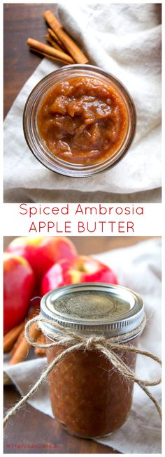 A fun DIY holiday foodie gift, this 4 ingredient spiced Ambrosia apple butter is quick and easy to make in the slow cooker and fun to dress up as a festive gift! | @TheFoodieDietitian (AD)