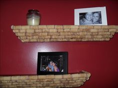 Cover display shelves with wine corks