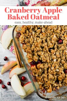 Healthy Recipes : Illustration Description The best Cranberry Apple Baked Oatmeal packed with fresh apples and cranberries, cinnamon, maple syrup,m and brown sugar. Plus it's healthy and can be made in advance. Healthy Breakfast Recipes, Healthy Baking, Healthy Recipes, Healthy Christmas Recipes, Breakfast Menu, Free Breakfast, Breakfast Bowls, Breakfast Casserole, Breakfast Ideas