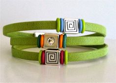 Leather Bracelet Patterns Green Leather by WyomingHammered on Etsy, $28.00