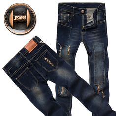 Now in our store skull clothing and accessories Men's fashion cla... Check out new items http://rebelstreetclothing.com/products/mens-fashion-classic-blue-jeans-designer-jeans-men-high-quality-jeans-trousers-ripped-jeans-skinny-young-man-bound-feet