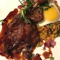 Duck Leg confit foie gras fried egg Spanish rice.  #food #foodporn #yum #instafood  #yummy #amazing #instagood #parkslope #sweet #dinner #onehungryjew #foodrepublic #fresh #tasty #foodie #delish #delicious #eating #foodpic #foodpics #eat #hungry #foodgasm #hot #foods
