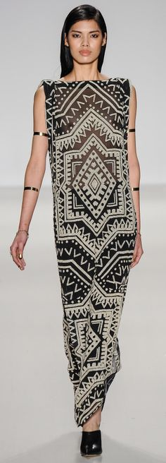 Long Black & White dress, Black Shoes, Simple accessories, Flattened Sleek hair, pink-nude lip color & make-up.  Mara Hoffman - Fall 2014