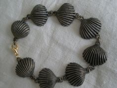 Vintage Gold Tone Seaside Shell Bracelet by PrettyPaulaProducts, $9.95