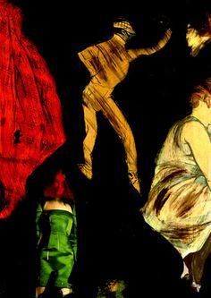 """18-Toulouse Lautrec x Cris Acqua.  Pintura Mixta Collage. 30x21 cm. HOMENAJE :""""Mi amor por este genial pintor...dueño de los trazos más libres y geniales de la Belle epoque, me han influido totalmente en mi camino por el arte..."""" (Cris Acqua)  http://www.crisacqua.com"""