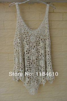 White Crop Tank Top Crochet Halter Top Pineapple Pattern-in Tank ...