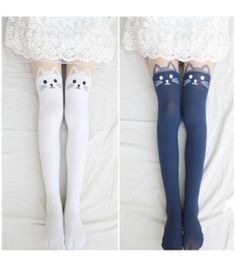 2015 New 4 Colors Nylon Cat Head And Tail Tattoo Stockings Lolita Velvet Women Sexy Knee Socks Tights Cute Printed Pantyhose Estilo Harajuku, Harajuku Mode, Harajuku Fashion, Kawaii Fashion, Thigh High Socks, Thigh Highs, Knee Socks, Cat Tights, Tattoo Tights